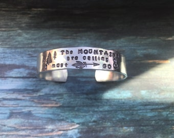 Mountains are calling and I must go silver bracelet