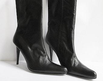 39dcddc12359d5 Vintage Stiletto Boots. Black Leather Mid Calf Boots. Colin Stuart size  10M. Stiletto 4