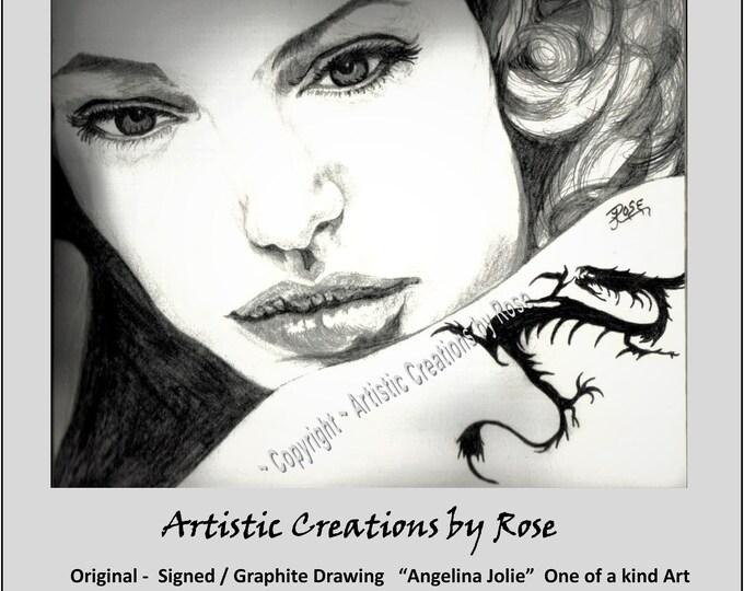 Original art - Graphite - Angelina Jolie - prints - Portraits,dog portraits,,pet portraits,pet art,pet lovers