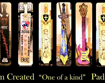Guitar fraternity paddle,fraternity paddles, frat paddle,custom fraternity paddles, Unique shaped fraternity paddles,Fraternity Crest,crests