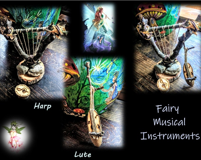 fairy items, harp, lute, fairy items, fairies, fairy babies, fairy Hammock  garden art, fairies, fairy garden accessories, fairy furniture