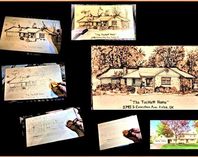 wood anniversary gift - five year anniversary - husband gift - wife gift - father gift - wood gift - wood burned art