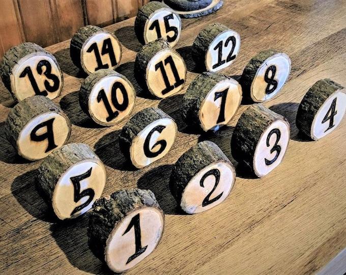 Rustic - wedding table numbers - rustic wedding - tree slice table numbers