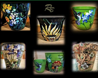 mothers day gift - painted flower pots - wife gift - mother gift,grandmother gift ,sunflower - birthday gift,flower pot,garden,spring gifts