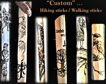 father gift - hiking stick - walking stick - hiking - hikers gift - Retirement gift - wood anniversary - walking cane, elderly gift