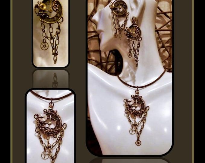 Steampunk Earrings,Steampunk Jewelry,Steampunk Necklace,Industrial,Cyberpunk,Steam punk, Sci Fi