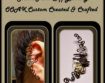 ear cuff - steampunk - jewelry - vine earrings,pearl earrings,mother daughter jewelry