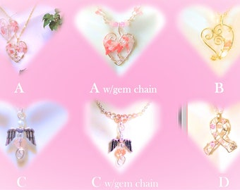 Breast Cancer Awareness - survivor jewelry - Awareness Necklace -cancer jewelry -pink ribbon jewelry