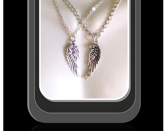 mother gift - wife gift - girlfriend gift - angel wing necklace - daughter -   couples gift - couples jewelry,