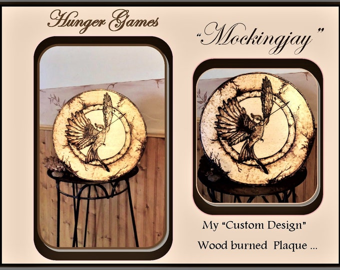 Only one available - Mockingjay, One of a kind - OOAK - wood burned art - gift ideas -  -wall art, home decor