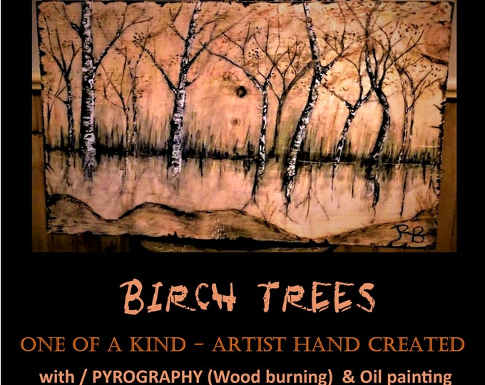 Original Art - Mixed media - Wood burned - oil paint - Birch tree art - wood anniversary - birch trees - Cabin Decor - Lodge Decor - Rustic