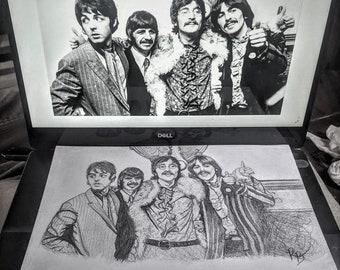 The Beatles - Fan Art - John Lennon - Fiona the Hippo -  Fiona hippo birthday - Fiona Fan Art -   art - Original art, -print