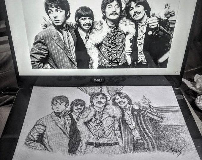 The Beatles - Fan Art - John Lennon - Fiona the Hippo -  Jason Momoa -  art - Original art, -print