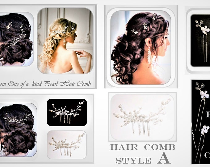 wedding jewelry - bridal sets - bridal jewelry - pearl  - Wedding  - hair pins -Hair styles -Pearl,hair comb - Pear, Pearl Earrings