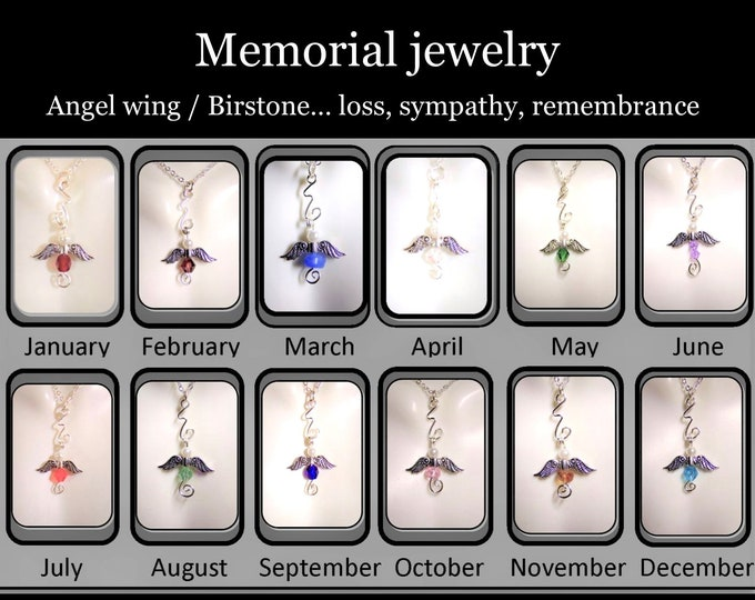 bereavement, memorial, angel, necklace, Loss,  sympathy,  mother gift, birthstone, gift