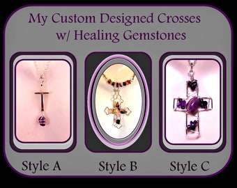 Gemstone Cross, Cross jewelry, Religious jewelry,Sobriety Jewelry, Amethyst jewelry, cross necklace, ankh jewelry, ankh pendant, copper
