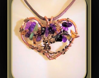 Amethyst, Heart, Balance, Healing, gemstone healing, spirit, light , love, jewelry, Tree of Life, tree of life necklace,