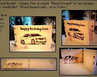 photo album - cars - husband gift - boyfriend gift - son gift -  wife gift - mother gift -- wood book - ,journal - Memory Book