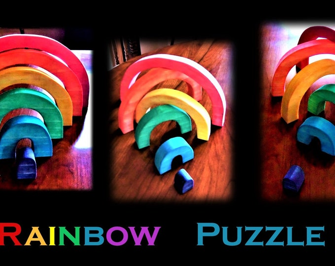 gift for kids, boy gift, girl gift, educational toy. Toddler gift, Rainbow puzzle, rainbow gifts, wood puzzle toy, Waldorf toy, wood Rainbow