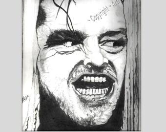 The Shining - Jack Nicholson - Here's Johnny - Original art - prints - Graphite,dog,pet portraits,wife gift,mother gift,husband gift