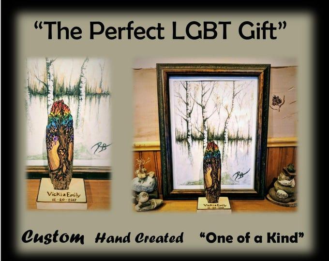 LGBT gift ideas, lgbt anniversary gift, lgbt wood anniversary,lgbtq,Female couples gift, rainbow jewelry,lgbt, wood rainbwo