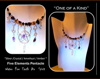 five elements - crystal wand - alter - pentacle - Amethyst wand - magic wand - Alter pentacle,wiccan,Pentagram Jewelry,pentagram necklace