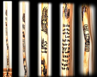 hiking stick - walking stick - cane - artistic creaions by rose -  custom,flying eagle,any images - NO machines used - artist created - Rose
