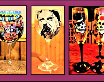 painted wine glass - painted glasses - hand painted - wine glass - painted champagne - skulls - champagne flutes - Gothic wedding
