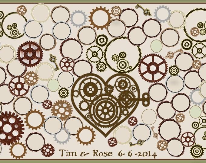 Steampunk Wedding - steampunk wedding jewelry - paper anniversary gift - steampunk -  wedding guest book -  wedding book ideas,   guest book