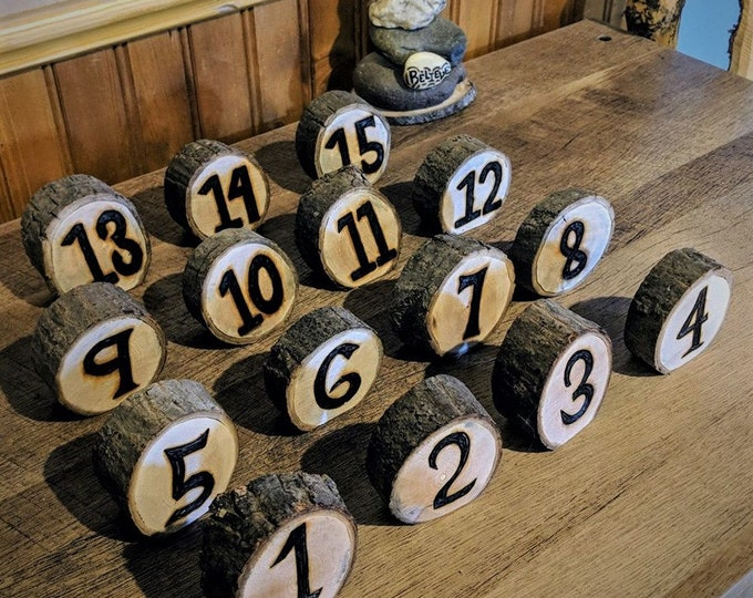 Rustic wedding - Rustic Table Numbers - Tree slice table numbers - Country Wedding,theme wedding,Wedding Guest Book, farm theme, Memory Book