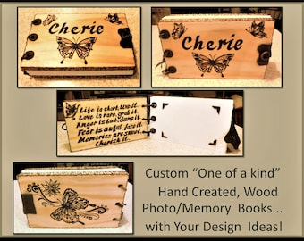 butterfly - butterfly gifts - wife gift - mother gift - photo album - wood book - ,journal - Memory Book