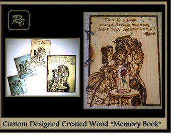 Beauty and the Beast,gift ideas,photo album,Memory Book, journal,Wood Anniversary gift, Wood book, Wood burned Book, Wedding Guest Book