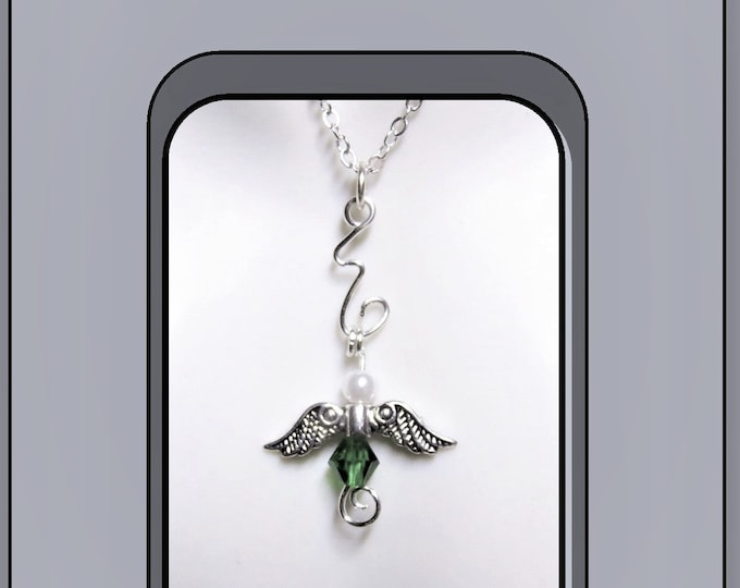 Loss, sympathy gift, Couples, bereavement, memorial, angel, necklace, mother gift, birthstone, gift