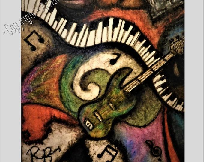 Music Art - Original art - prints  - Oil Art -  Osborne -  Rocker gift,musician gift,paper anniversary gift ideas.Artistic Creations by Rose