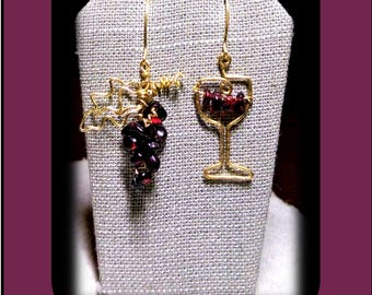 Wine tasting - Garnets, Garnet Earrings,wine lovers gift,wine jewelry,girlfriend gift, daughter gift,bartender gift,wife gift
