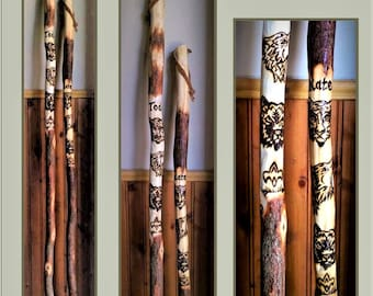 hiking stick with eagle trees - Family Hiking sticks - walking sticks  - Trails - kids hiking stick - ,family camping - hiking