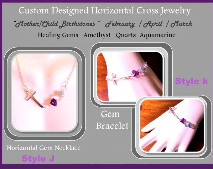 February Birthstone jewelry, Cross jewelry, Amethyst jewelry,Everyday necklace, sobriety jewelry, horizontal Cross Mother Child jewelry,