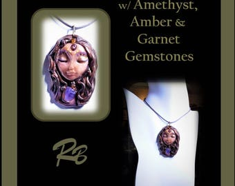 Zen - Wicca - Goddess necklace, Goddess Healing necklace, Amethyst,Spiritual jewelry, healing jewelry,wife gift, zen,inner peace,growth