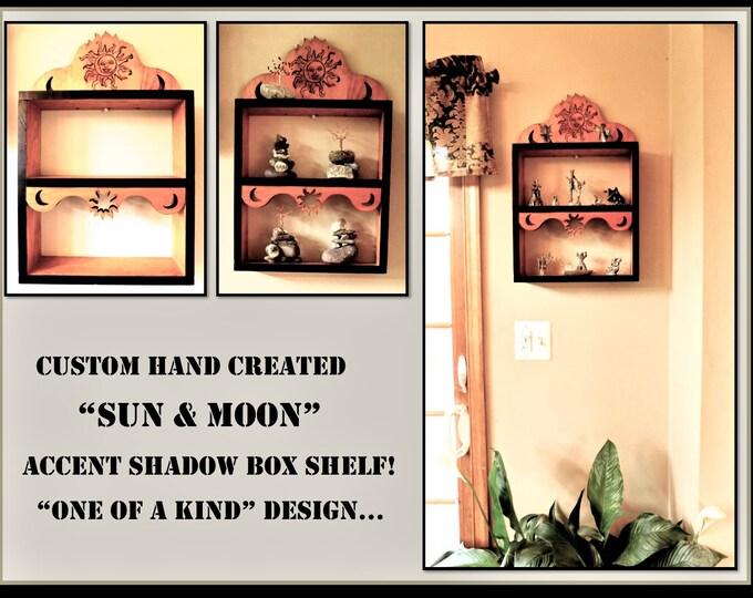 Curio shelves,Spice Rack ideas,Sun and Moon Wall shelf,Accent Wall Shelf, Display shelf,Cool shelves,Shadow box,Sun moon wall art,Wood shelf
