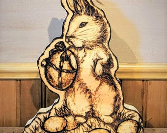 Easter bunny - wife gift - mother gift- easter gift - Easter table decoration - Rustic -Easter Decoration - chipmunk -wood trees -tree art