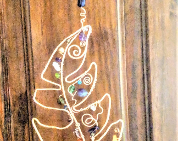 mystical feather, suncatcher, gemstone healing, wife gift, mother gift,  Bohemian Décor, hippie home décor, garden decorations, Window art