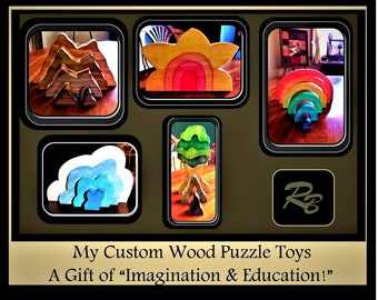 Christmas gift kids - wood puzzles - handmade - boy gift - girl gift - educational toy - Toddler gift - wood toy - Waldorf -  wood Rainbow,