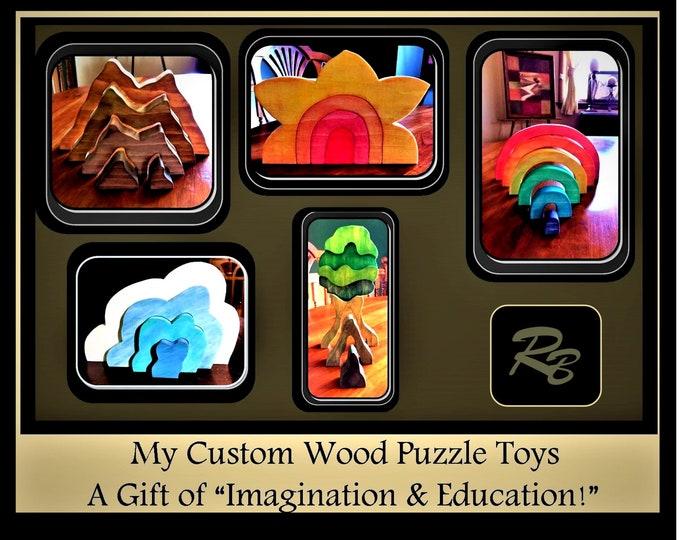 Christmas gift kids - wood puzzles - handmade - boy gift - girl gift - educational toy - Toddler gift - wood toy - Waldorf -  wood Rainbow,