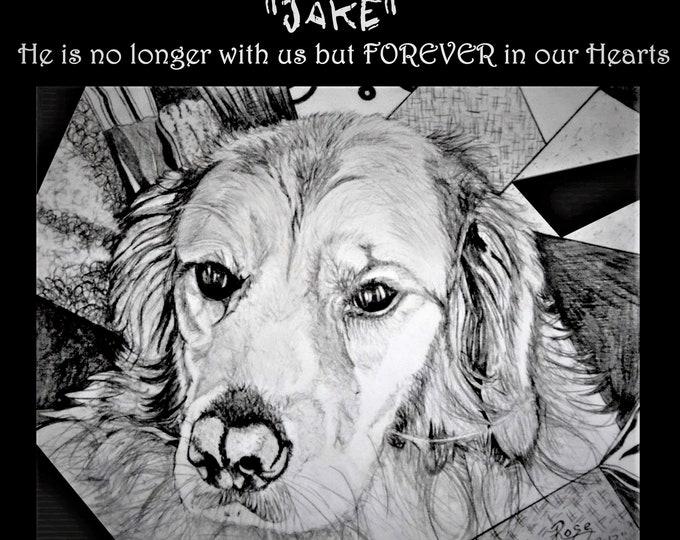 JAKE - pet lovers - pet portraits - dog lover gift - pet memorial - pet remembrance -  dog portraits - custom Portraits,Golden Retriever