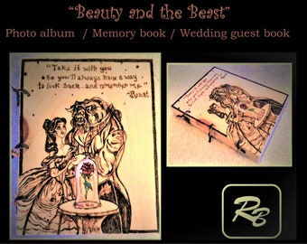 Beauty and the Beast - gift ideas - photo album,Memory Book, journal,Wood Anniversary gift, Wood book, Wood burned Book, Wedding Guest Book
