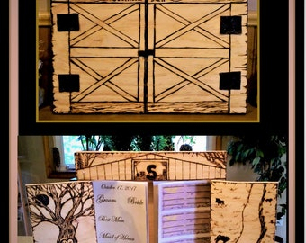 Country Wedding,rustic wedding,goth wedding,theme wedding guest book,guest book,Wedding Guest Book, farm theme,Album, Memory Book,Wood Book