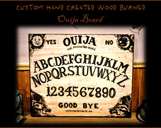 spirit board -  Ouija board - wood burned,One of a kind,wicca,white witch,Alter pentacle,crystal wand,pentacle,pentagram,pentagram necklace