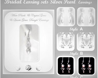 Pearl Earrings - Wedding Earrings - Wedding Jewelry - Bridal Jewelry, Pearl jewelry, White Pearl jewelry, wedding necklace, bridal necklace