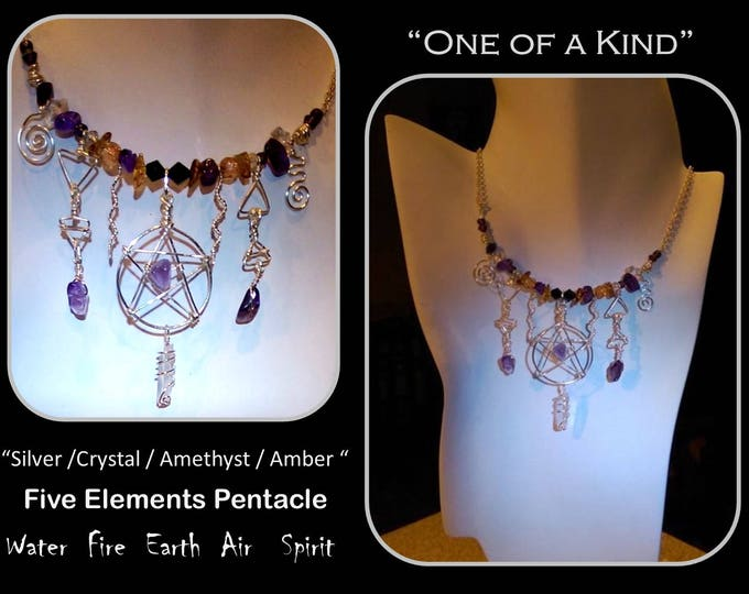 crystal necklace - spiral jewelry - pentacle jewelry,Healing,Amethyst jewelry,crystal healing,Amethyst Healing,wicca jewelry,crystal wand