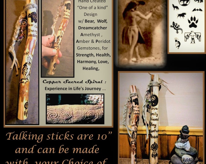 Talking stick - family communication - group talk, hiking stick -wood anniversary gift,retirement gift,recognition gift